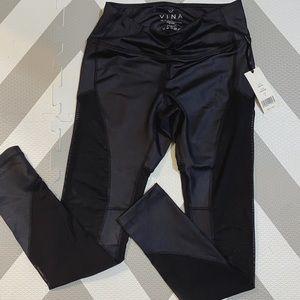 NWT XX Vina Shimmery Black and Mesh Leggings